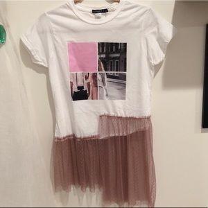NWOT- Petite Tulle T-Shirt